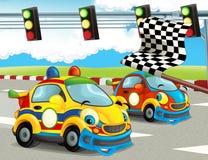 Roliga och lyckliga seende tävlings- bilar för tecknad film på loppspår Arkivbild
