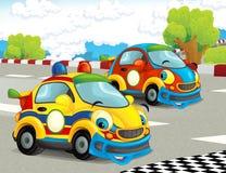Roliga och lyckliga seende tävlings- bilar för tecknad film på loppspår Royaltyfri Fotografi