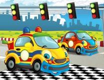 Roliga och lyckliga seende tävlings- bilar för tecknad film på loppspår Royaltyfria Foton