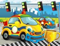 Roliga och lyckliga seende tävlings- bilar för tecknad film på loppspår Fotografering för Bildbyråer