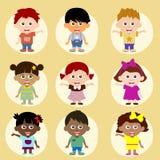 Roliga och lyckliga ungar för tecknad film Arkivfoto