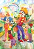 Roliga och roliga clowner underhöll barnen Arkivfoton