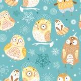roliga owls mönsan seamless Arkivbild