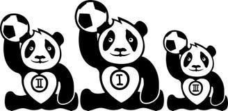 Roliga pandavinnare med bollar stock illustrationer