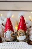 Roliga par av julgnomer i röda lock Arkivbild