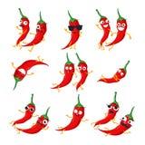 Roliga peppar för röd chili - vektorn isolerade tecknad filmemoticons stock illustrationer