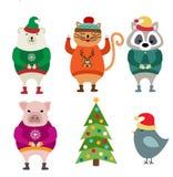 Roliga plana designdjur som kläs för jul stock illustrationer