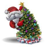 Roliga Santa Christmas Tree vektor illustrationer