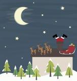 Roliga Santa Claus i lampglas Royaltyfri Bild