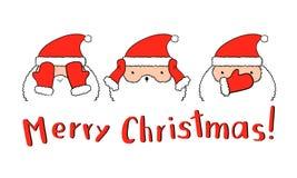 Roliga Santa Claus i vektor Tre jultomten som stänger tumvanten, synar, öron och munnen Royaltyfria Bilder