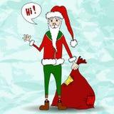 Roliga Santa Claus med blå bakgrund. Fotografering för Bildbyråer