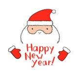 Roliga Santa Claus med bokstäver för nytt år i vektor Arkivfoto