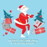 Roliga Santa Claus som dansar vridningen, julkort Royaltyfri Foto