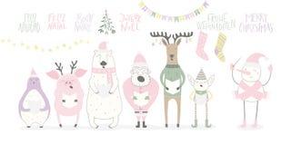 Roliga sjungande djur och Santa Christmas kort royaltyfri illustrationer