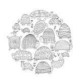 Roliga sköldpaddor ställer in, skissar för din design royaltyfri illustrationer