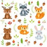 Roliga skogdjur och blom- beståndsdelisolat på vit bakgrund Vektorillustration i tecknad filmstil royaltyfri illustrationer
