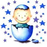 Roliga små behandla som ett barn pojken var födda från ett kläckt ägg Vattenfärgillustration för nyfött barn för hälsningkortet,  Royaltyfria Bilder