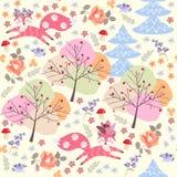 Roliga små rävar spelar i höstskogen bland träd och blommor Sömlös patchworkmodell i vektor vektor illustrationer