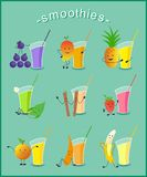 Roliga Smoothies - illustration Arkivbilder