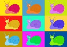 Roliga sniglar i stilen av popkonst Fotografering för Bildbyråer
