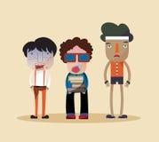 Roliga stilfulla tecknad filmtecken av en nerd, en ful fjant och ett billigt pris Arkivbild