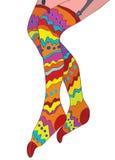 Roliga strumpor för flickor med modellen Royaltyfri Fotografi