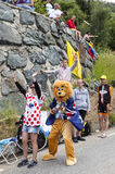 Roliga supportrar av Le-Tour de France Royaltyfria Bilder