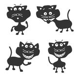 Roliga svart katter vektor illustrationer