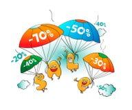 Roliga tecken av försäljningen: bokstäver hoppa fallskärm på Arkivfoto
