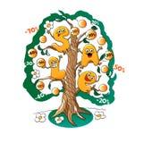 Roliga tecken av försäljningen: bokstäver på trädet av rabatter Royaltyfri Foto