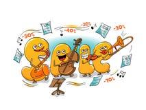 Roliga tecken av försäljningen: bokstäver som spelar i orkesteren Arkivbilder