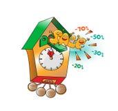 Roliga tecken av försäljningen: Tid av försäljningen på klockan på vit backgr Arkivfoto