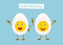 Roliga tecken i form av halvor av ett kokt ägg vektor royaltyfri illustrationer