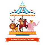 Roliga tecknad filmdjur som rider på karnevalkarusell Arkivfoto