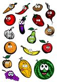 Roliga tecknad filmfrukt- och grönsaktecken Fotografering för Bildbyråer