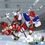 Roliga tecknad filmhockeyspelare spelar hockey på isen Royaltyfri Bild