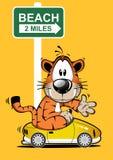 Roliga Tiger Cartoon Car Driving vektor illustrationer