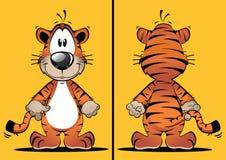 Roliga Tiger Cartoon Mascot Arkivbilder