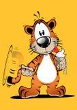Roliga Tiger Cartoon med glassbildvektorn royaltyfri illustrationer