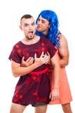 Roliga transvestit som har gyckel Arkivfoton