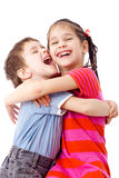 roliga ungar som tillsammans plattforer två Royaltyfria Bilder