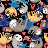 Roliga vänner med sengångare vektor illustrationer