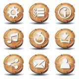 Roliga Wood symboler och knappar för den Ui leken Royaltyfria Foton