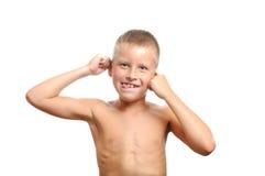 roligt barn för pojkeframsida Arkivbilder