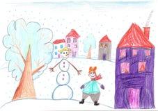 Roligt barn som spelar nära en snögubbe tecknande faderson Fotografering för Bildbyråer
