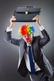 roligt begrepp för affärsaffärsmanclown Royaltyfri Fotografi