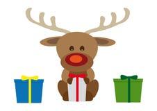 Roligt behandla som ett barn den julRudolf renen med tre gåvor royaltyfri illustrationer