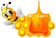 Roligt bi och honungskaka stock illustrationer