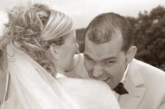 roligt bröllop Arkivbild
