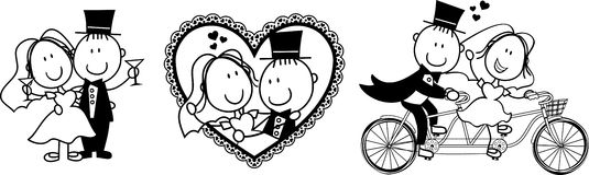 Roligt bröllop inviterar vektor illustrationer
